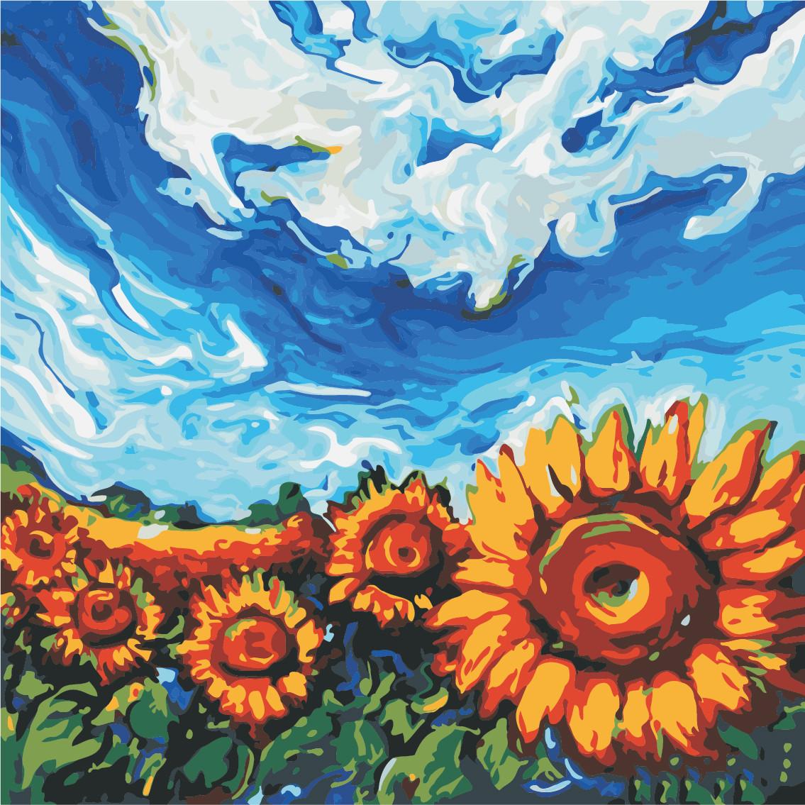 Картина по номерам ArtStory Украинские подсолнухи  40*40см
