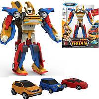 Трансформер Тобот тритан оранжевый трансформация в три разные машинки, 20 см 3 в 1, tobot tritan 3056