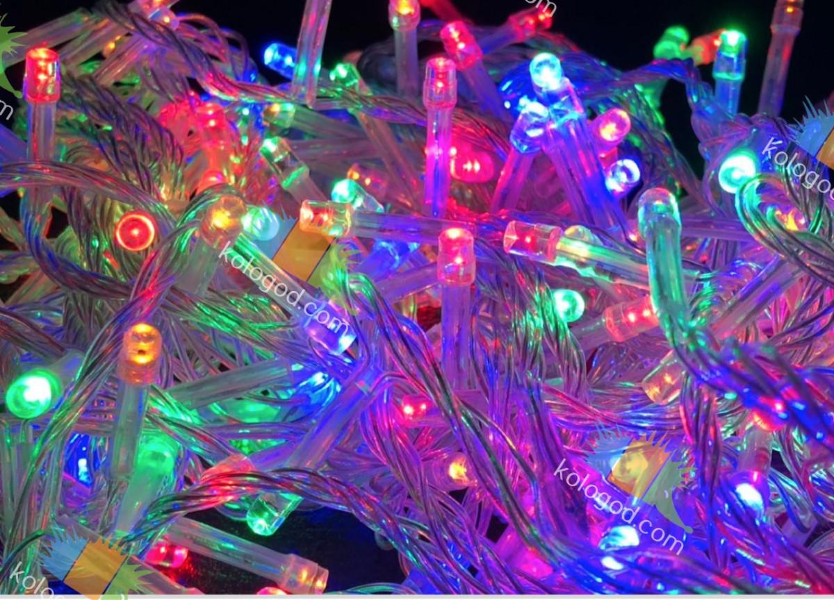 Гирлянда Нить 100 LED на Елку Цвета в Ассортименте Белый Провод top