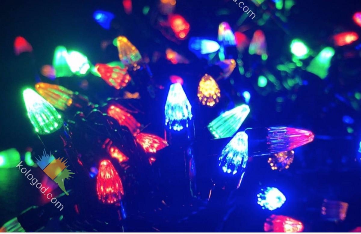 Гирлянда Нить Конус 500 LED на Елку Цвета в Ассортименте Черный Провод sale