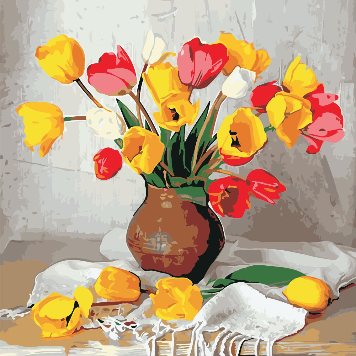 Картина по номерам ArtStory Цветные тюльпаны  40*40см