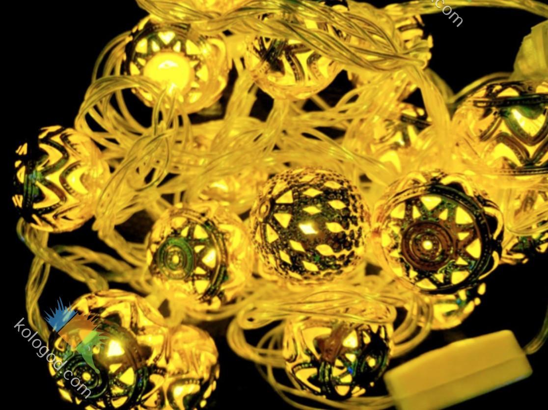 Гирлянда Нить Шарики Золотые 20 LED sale
