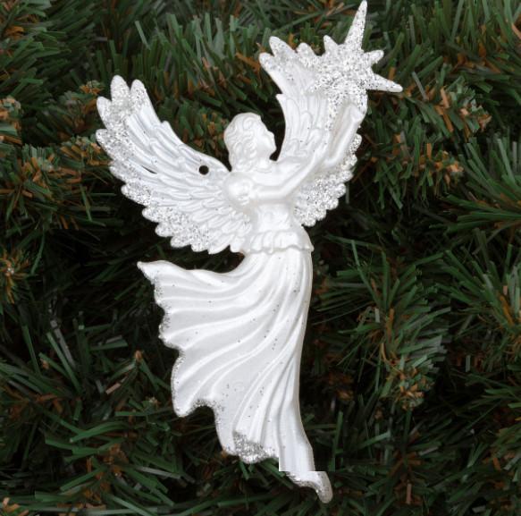 Елочная Игрушка Ангел с Звездой Рождественский Золотой Серебряный sale