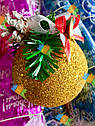 Елочная Игрушка Новогодний Шар Заснеженный с Шишкой Колокольчиком 9 см Цвета в Ассортименте sale, фото 3