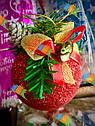 Елочная Игрушка Новогодний Шар Заснеженный с Шишкой Колокольчиком 9 см Цвета в Ассортименте sale, фото 4