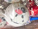 Елочные Шары Бычок Коровка Белые с Напылением 8 см  на Елку в Год Быка 6 шт в Упаковке sale, фото 2