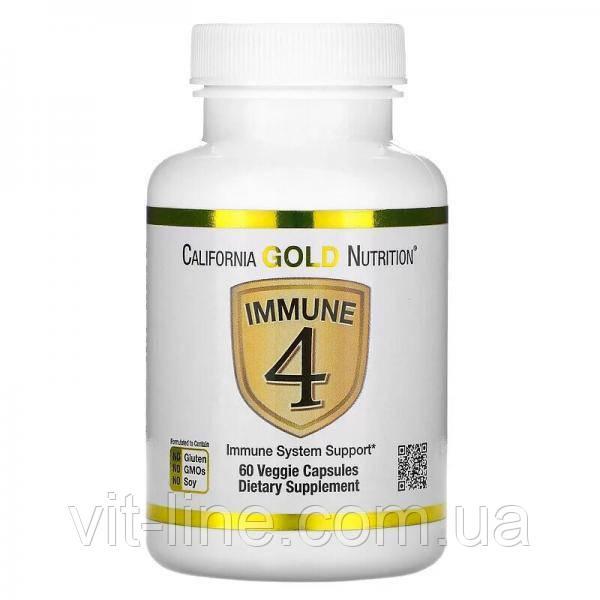 California Gold Nutrition, Immune4, засіб для зміцнення імунітету, 60 рослинних капсул