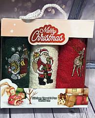 Новогодние Махровые Полотенца в Подарочной Упаковке Размер 30 х 50 см 3 шт в Наборе sale