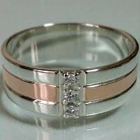 Обручальное кольцо серебряное с золотыми накладками с фианитами ДК-006