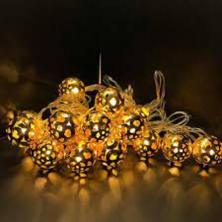 Гирлянда Шарики Золотые Желтые Нить 20 LED Диодов 4 м sale