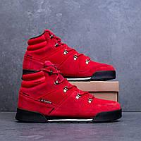 Кроссовки зимние мужские из замши стильные, красные