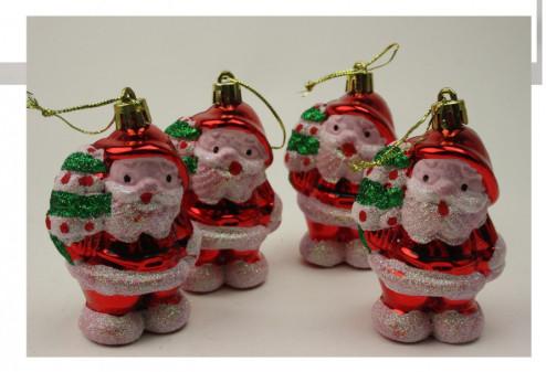 Украшения На Елку Набор Новогодних Игрушек Дед Мороз 4 Шт В Упаковке sale