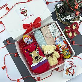 Подарочный набор женский Новогодний трусики 3шт Ёлка+носки