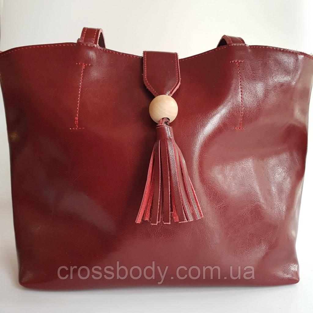 Женская торба  бордо длинный ремешок