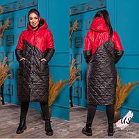 Женская полубатальная двухцветная куртка-пальто с капюшоном. 4 цвета!, фото 1