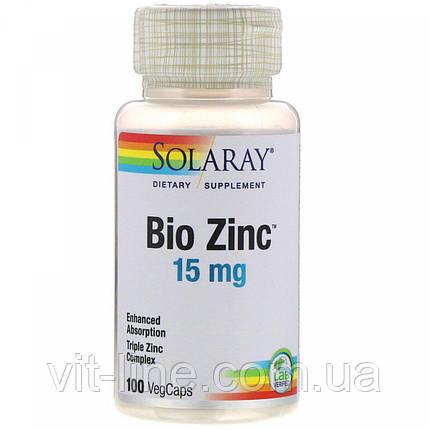 Solaray, Bio Zinc, 15 мг, 100 растительных капсул, фото 2