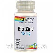 Solaray Bio Zinc 15 мг, 100 рослинних капсул