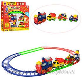 ЖД 19016 B (96шт) паровоз-едет, машинки-вагончики 3шт, от 6см, на бат-ке, в кор-ке, 25-23-4см