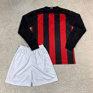 Футбольная форма Милан длинный рукав 2020-2021, домашняя, черно-красная, фото 2