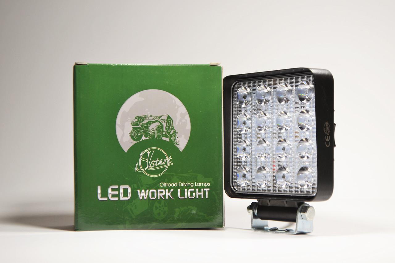 Светодиодная LED фара рабочая 48Вт,(3Вт*16ламп) (SLstart) (тонкий радиатор)