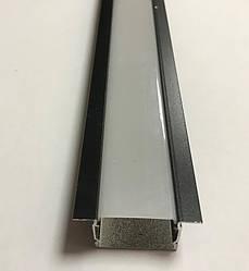 Черный врезной LED-профиль с матовым рассеивателем ЛПВ-20АВ (за 1м) Код.59784