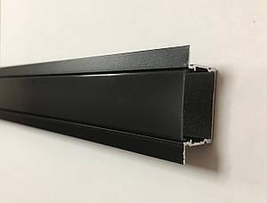 Чорний врізний LED-профіль з чорним розсіювачем ЛПВ-20АВ (за 1м) Код.59783
