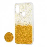 Чехол силиконовый Fashion popsoket для Huawei P Smart Plus gold