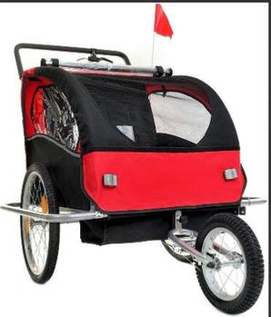 Люлька для перевезення дітей на велосипеді 2 os + JOGGER 2w1 червона Марка Європи