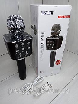 Беспроводной караоке микрофон с встроенным динамиком Bluetooth Wster WS-1688 Черный