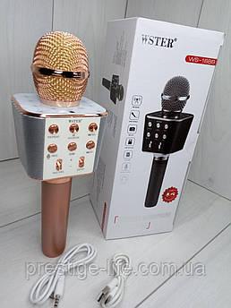 Беспроводной караоке микрофон с встроенным динамиком Bluetooth Wster WS-1688 Розовый