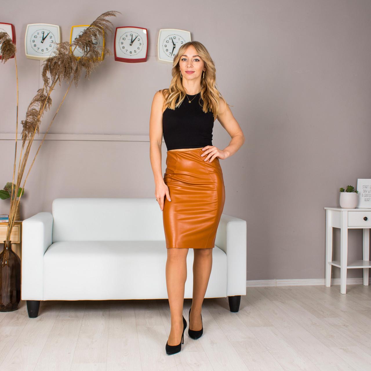 Женская юбка Лолита из эко кожи цвета в ассортименте, размер 44- 54