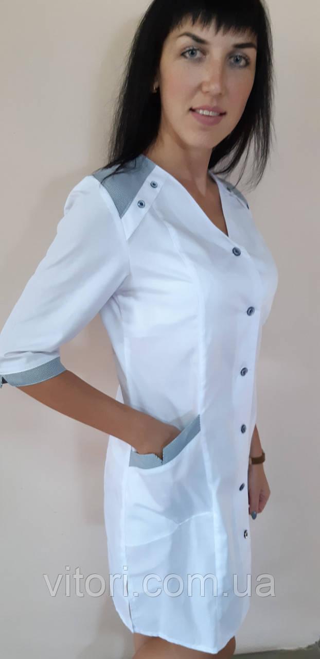 Жіночий медичний халат Рондо коттон три чверті рукав
