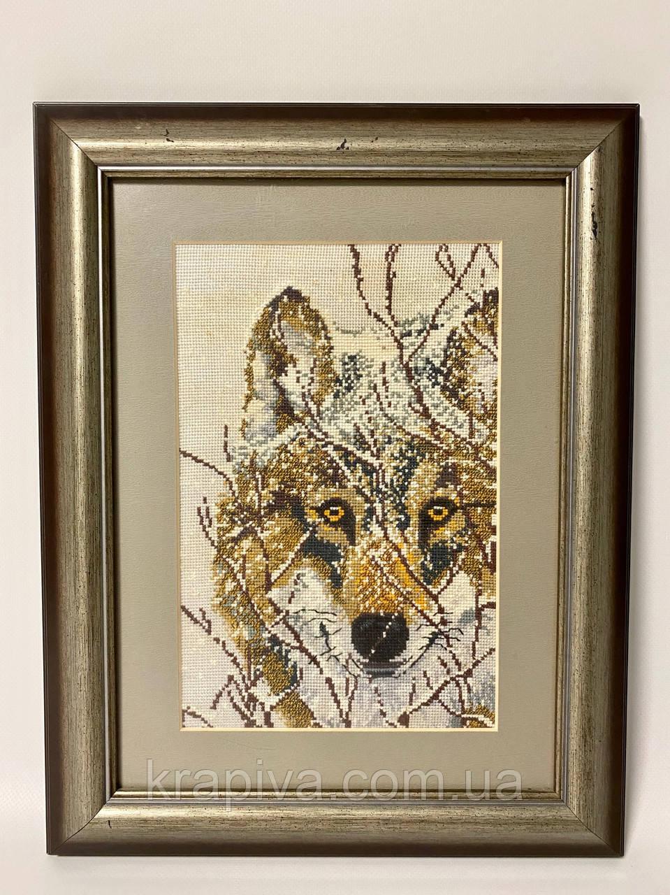 Картина вышивка Волк 61*43 см, ручная работа, картина вишивка ручної роботи