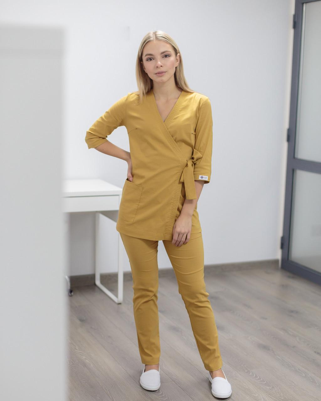 Медицинский женский костюм Шанхай горчичный
