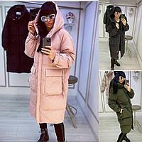Р 42-56 Стеганная куртка-пальто свободного кроя 23101