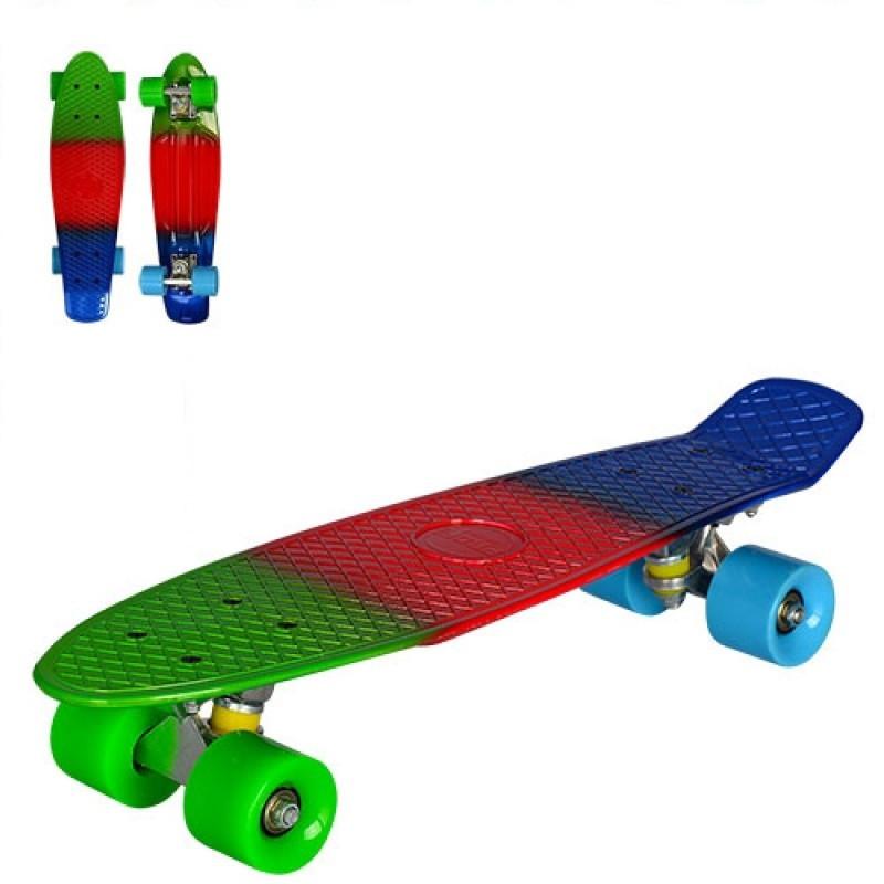 Детский скейт Пенни-борд радуга