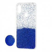 Чехол силиконовый Fashion popsoket для Huawei P Smart Plus blue