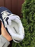 Женские зимние кроссовки New Balance 574 темно-синие Нью Беленс натуральная замша, фото 2