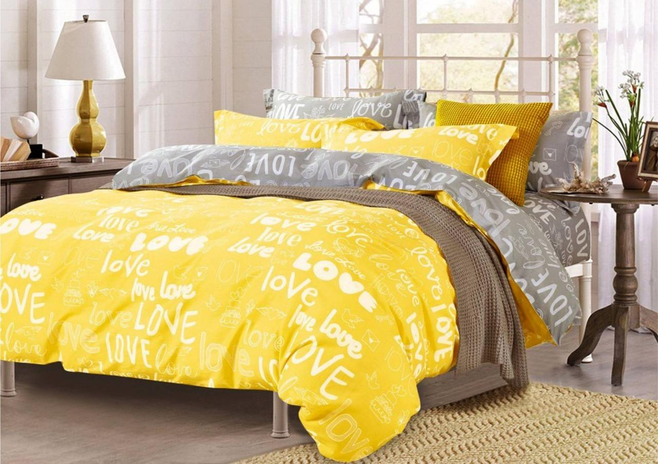 """Желтое постельное белье из бязи Ранфорс """"Love"""" Евро размер"""