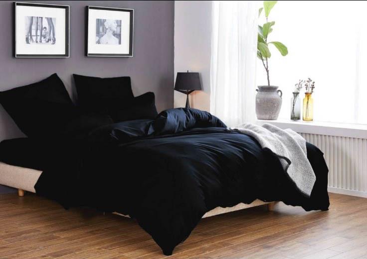 """Шикарное однотонное постельное белье черное """"Black"""""""