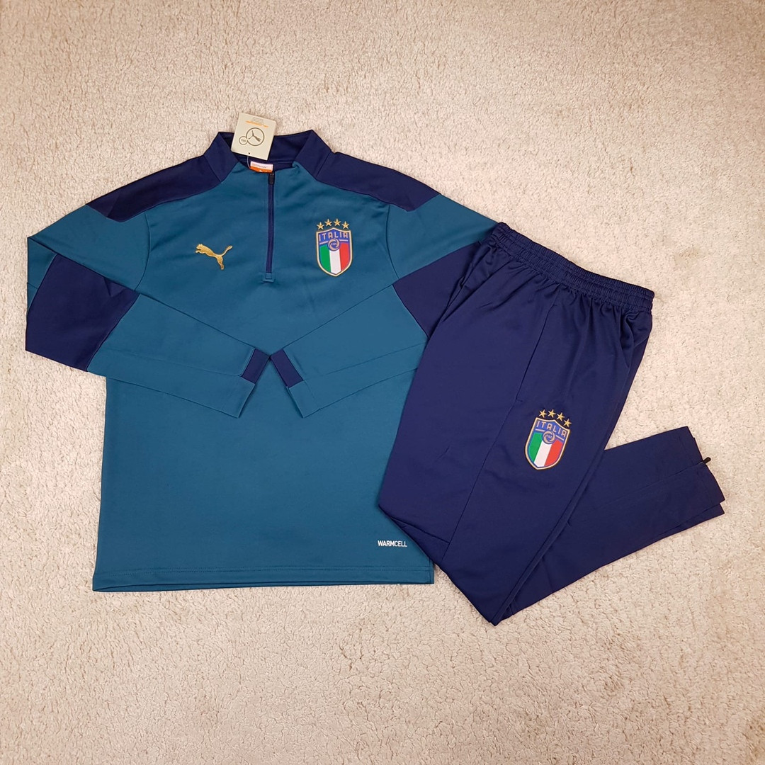 Мужской тренировочный костюм сборной 2020 Италия темно-зеленый