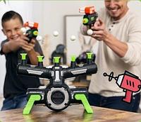 ИГРА СТРЕЛЯЛКИ Воздушный тир Детская игра пистолет бластер с дротиками и летающие мишени