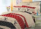 """Подарочное постельное белье хлопковое """"Луи Витон звезды"""" натуральная бязь Ранфорс Двойной размер 185х220, фото 2"""