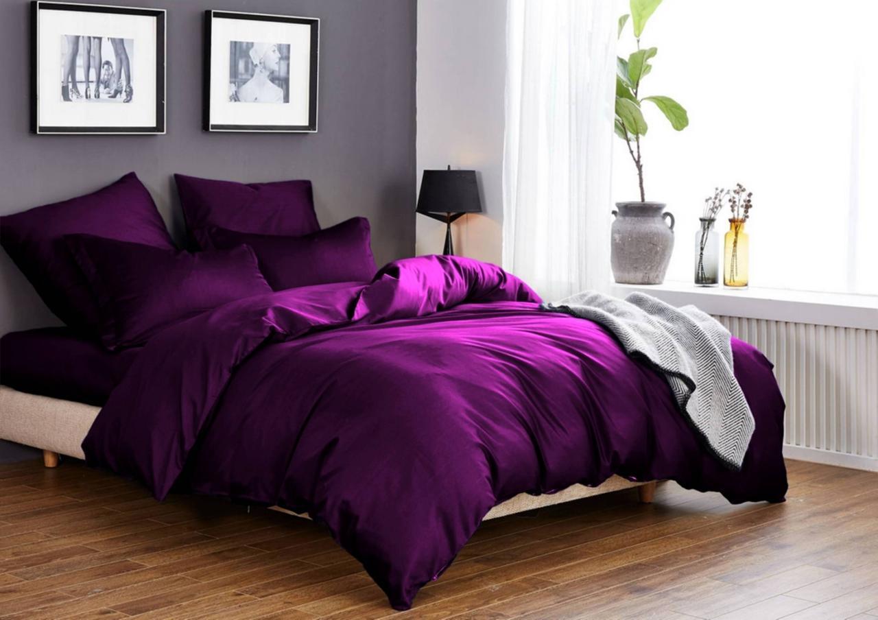 """Однотонное гламурное хлопок 100% постельное белье фиолетовое """"Violet"""" полуторка+2 наволочки 70х70 50х70"""