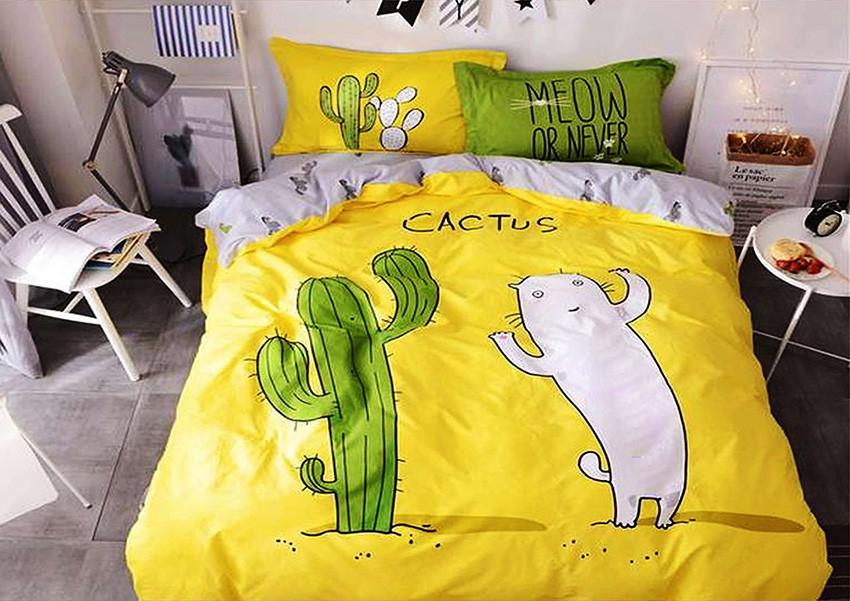 """Контрастное натуральное постельное белье """"Cactus"""" бязь Ранфорс Двойной размер 185х220+2 наволочки 70х70 50х70"""