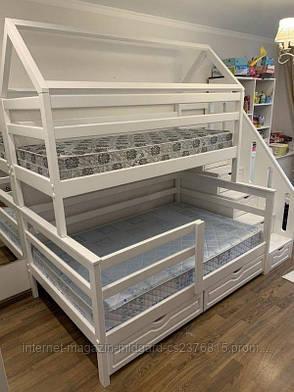 """Двухъярусная трехспальная деревянная кроватка с лестницей комодом """"Эшли"""" массив дерева от производителя!, фото 2"""