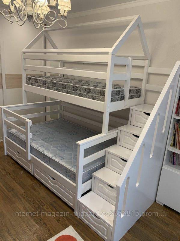 """Двухъярусная трехспальная деревянная кроватка с лестницей комодом """"Эшли"""" массив дерева от производителя!"""