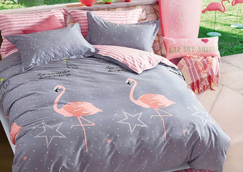 """Красивый постельный комплект """"Розовый фламинго"""" бязь Ранфорс Семейка"""