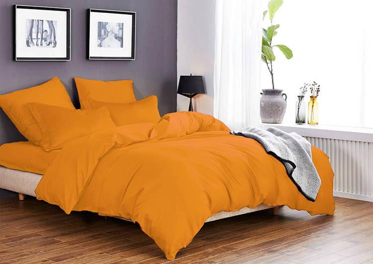 Однотонное постельное белье из бязи Ранфорс оранжевое Двойной размер