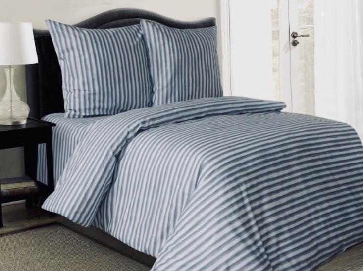 Стильное бязевое постельное белье в серую полоску  Евро размер